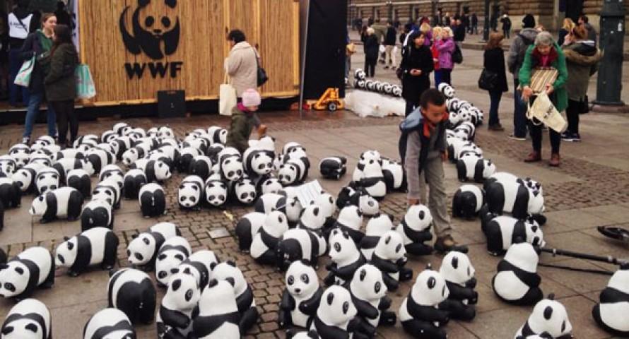 Pandabären übernehmen den Hamburger Rathausmarkt