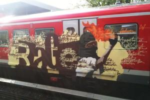 """Graffiti """"RAGE"""" auf Hamburger S-Bahn Waggon"""