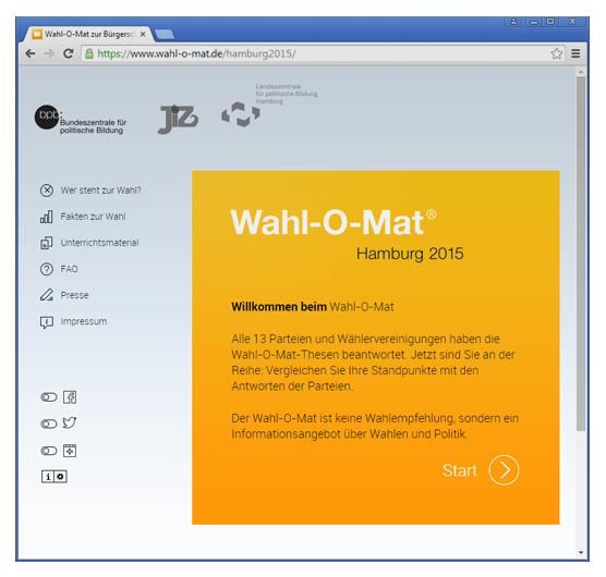 Der Wahlomat für Hamburg 2015 (Screenshot)