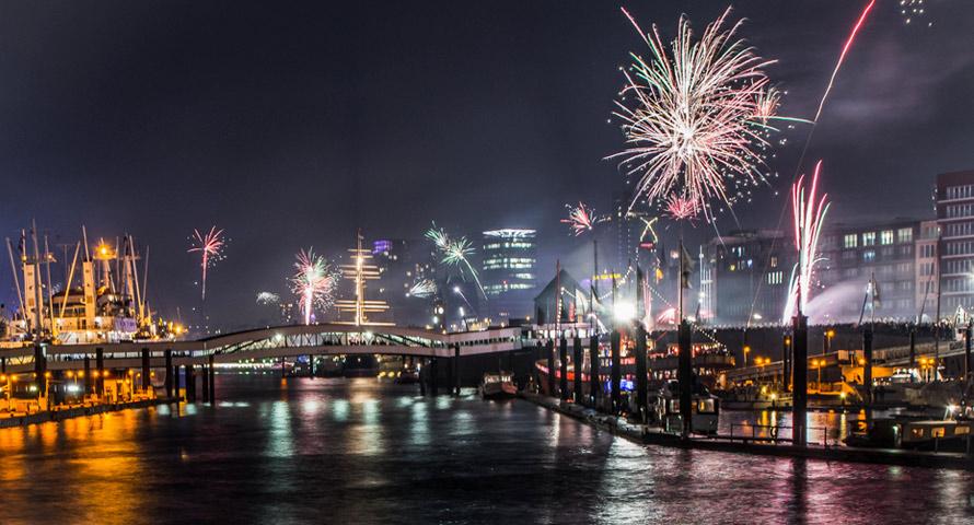 Silvester am Hamburger Hafen