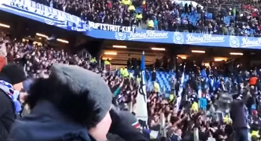 Endlich 2. Liga HSV – Hertha Fans im Gästeblock singen